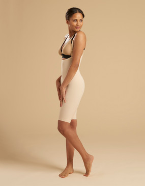 Marena Recovery FBS2 above-the-knee girdle with suspenders zipperless, seen here with the ME-811 bra (sold separately).