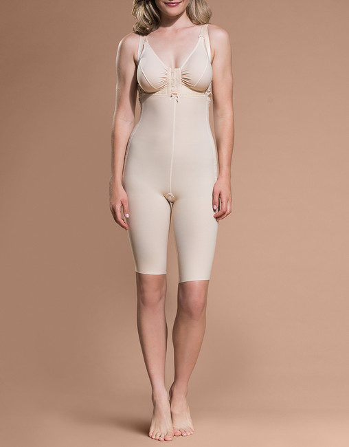 Marena Recovery FBS above-the-knee girdle with suspenders, seen here with the BA classic bra (sold separately).
