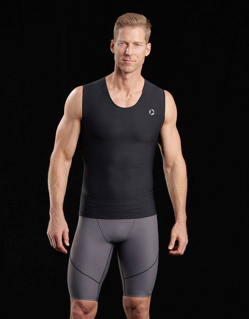 Marena 500 sleeveless compression tank top, seen here with the 605 pro compression shorts for men (sold separately).