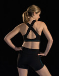Marena Sport 104 athletic cup compression sports bra, seen here with the 227 elite compression short w/ pockets (sold separately).