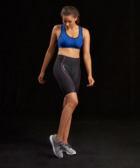 Marena Sport 224 core compression short for women, seen here with the 100 classic compression sports bra (sold separately).