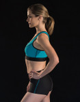 Marena Sport 100Z zip-up sports bra, seen here with 227 elite compression short w/pockets (sold separately).