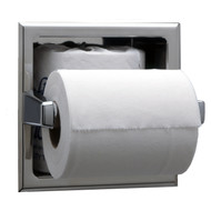 Recessed Toilet Tissue Dispenser With Storage For Extra Roll