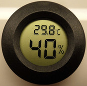 Hygrometer / Thermometer, Digital Round Gauge