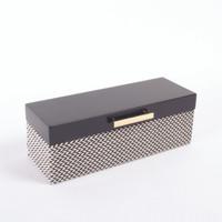 Jewelry Box Blk Chevron Lacq
