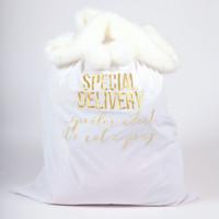 Velvet Santa Bag White