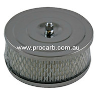 """SU 1 1/4"""" CHROME AIR FILTER 5 1/2"""" DIAMETER with offset BASE - PART # 16-26"""