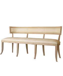 Klismos Leather Bench in Beige