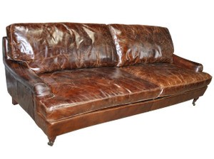 Curzon Leather Sofa, Cigar Leather