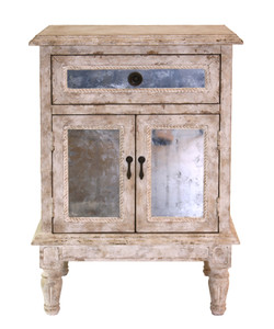 Antiqued Mirror Bedside Chest