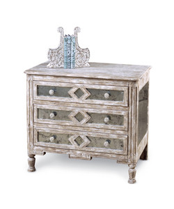 Diamond Antique Mirror Bedside Chest