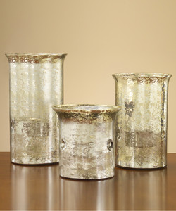 Overscale Mercury Glass Candle Holders, Set of 3