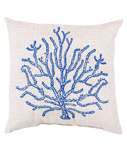 Cobalt and Cream Coral Pillow