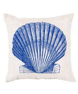 Cobalt, Cream and Ivory Seashell Pillow