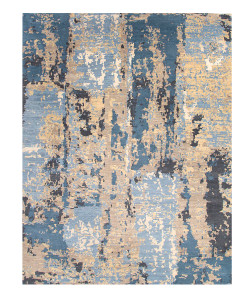 14' Connextion Wasabi Denim Blue Hand Knotted Rug