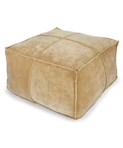 Cotton Velvet Pouf, Gold