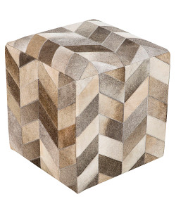 Trail Leather Chevron Pouf