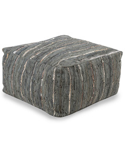 Anthracite Pouf, Ivory and Slate