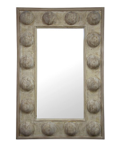 Reclaimed Lumber Boulder Mirror, Grey Wash Wax