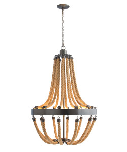 Vic 8 Light Iron/Rope Chandelier