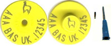 BAS 1 Button Ear Tag and 11mm EID Microchip