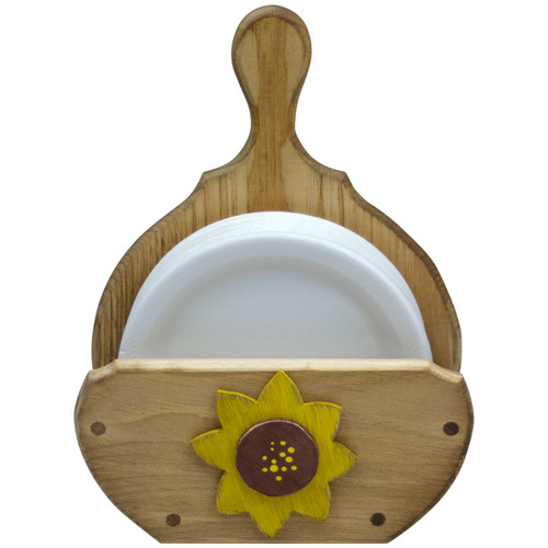 (sunflower-design) wooden-paper-plate-holder-