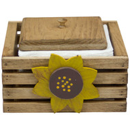 (sunflower-design) wooden-paper-napkin-holder-