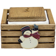 (christmas snowman-design) wooden-paper-napkin-holder-