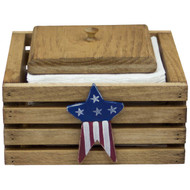 (americana-star-design) wooden-paper-napkin-holder-