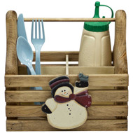 (christmas snowman-design) wooden-silverware-and-condiment-caddy-