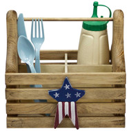 (americana-star-design) wooden-silverware-and-condiment-caddy-