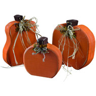 Freestanding Wooden-Pumpkin-Decorations