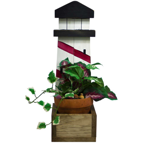 (red) Wooden-Lighthouse-Decor-Planter