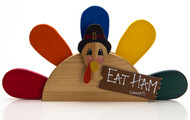 Eat ham Please! Wooden Turkey Centerpiece / Shelf Sitter Fall Decoration