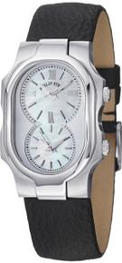 Philip Stein Women's 1-CMOP-CB Signature MOP Dial Leather Dual Time Strap Watch