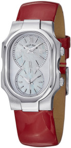 Philip Stein Women's 1-CMOP-LR Signature MOP Dial Red Leather Strap Quartz Watch
