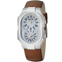Philip Stein Women's 'Signature' Dual Time Brown Satin Strap Watch