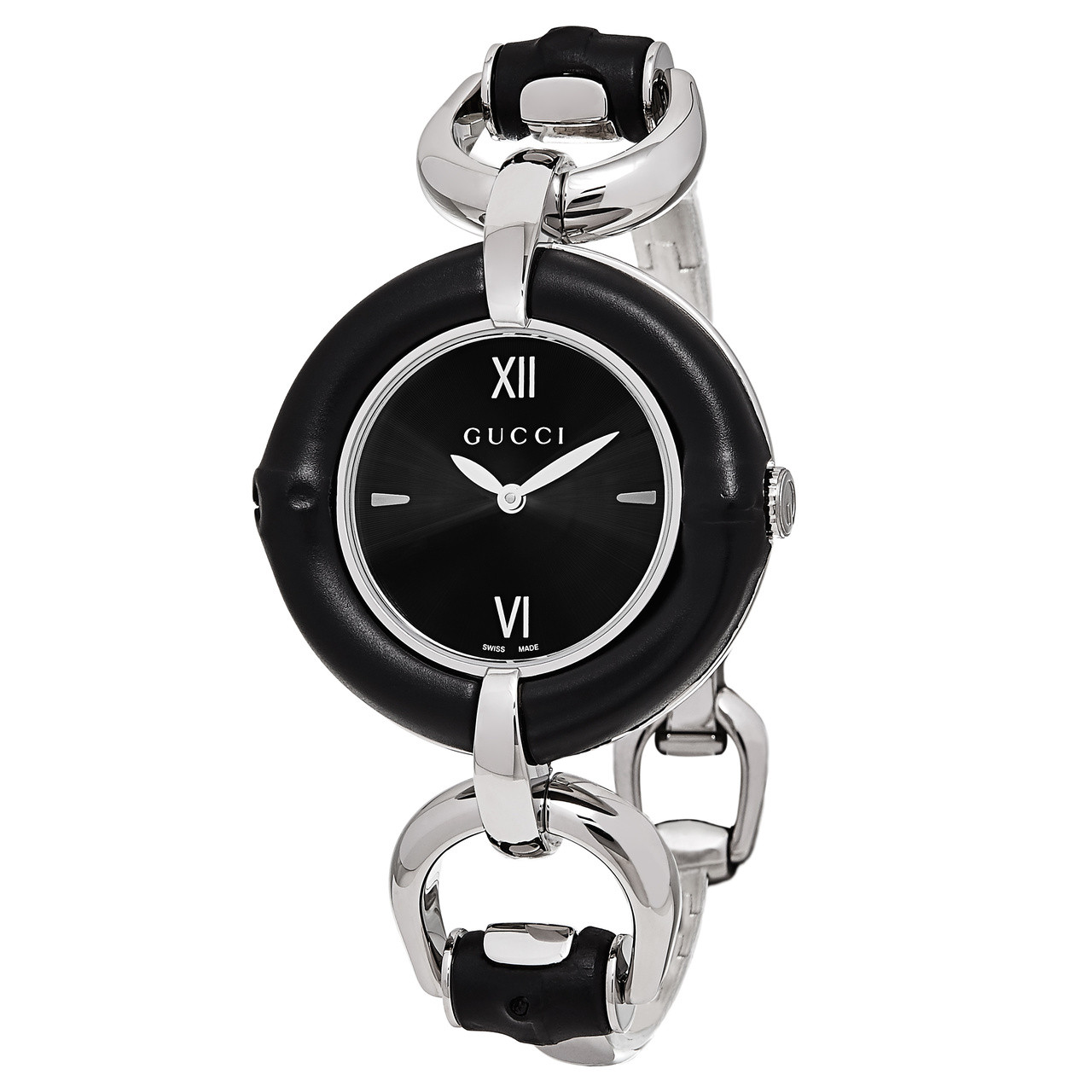 f887780e133 ... Gucci Bamboo Black Dial Stainless Steel Ladies Watch YA132405. Image 1.  Loading zoom