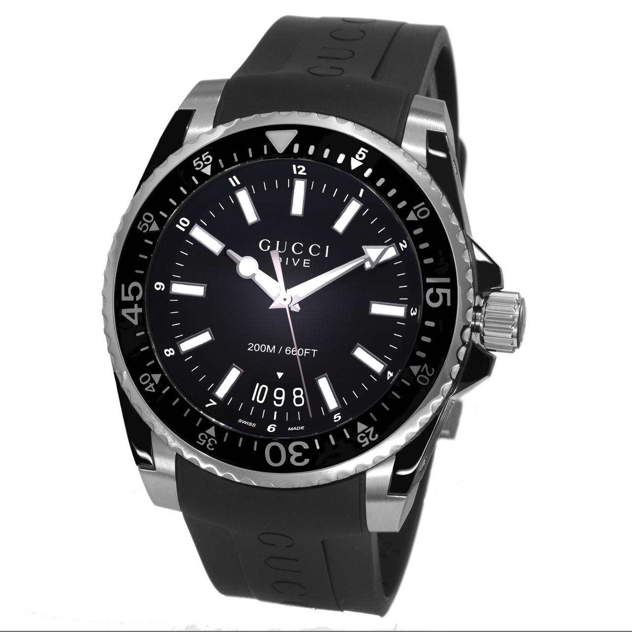 17d36389d1a Home · Men s Watches  Gucci Men s YA136204  Dive  Black Dial Black Rubber  Strap Swiss Quartz Watch. Image 1