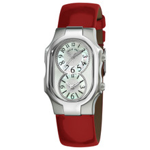 Philip Stein Women's 'Signature' Shiny Red Leather Strap Watch