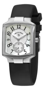 Philip Stein Women's 'Signature Classic Tank' Black Rubber Strap Watch
