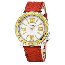 Fendi Women's F8001345H0.SNC7 'Selleria' Mother of Pearl Dial Red Leather Strap Two Tone Swiss Quartz Watch