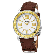 Fendi Women's F8001345H0.SSC2 'Selleria' Mother of Pearl Dial Brown Leather Strap Swiss Quartz Watch