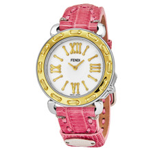 Fendi Women's F8001345H0.TS07 'Selleria' Mother of Pearl Dial Pink Leather Strap Swiss Quartz Watch