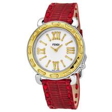 Fendi Women's F8001345H0.TSN7 'Selleria' Mother of Pearl Dial Red Leather Strap Swiss Quartz Watch