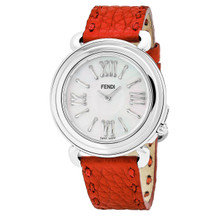 Fendi Women's F8010345H0.SNC7 'Selleria' Mother of Pearl Dial Red Leather Strap Swiss Quartz Watch