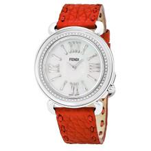 Fendi Women's F8010345H0C0NB7 'Selleria' Mother of Pearl Dial Red Leather Strap Diamond Swiss Quartz Watch