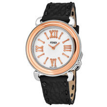 Fendi Women's F8012345H0.SN01 'Selleria' Mother of Pearl Dial Black Leather Strap Swiss Quartz Watch
