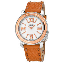 Fendi Women's F8012345H0.SN09 'Selleria' Mother of Pearl Dial Orange Leather Strap Swiss Quartz Watch