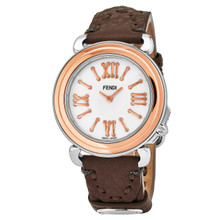 Fendi Women's F8012345H0.SSE6 'Selleria' Mother of Pearl Dial Brown Leather Strap Swiss Quartz Watch